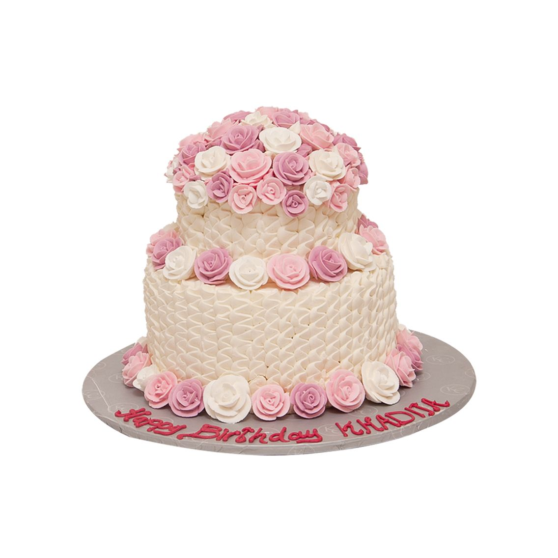 Kitchen Cuisine Default Category Double Tier Cake White & Pink Flower