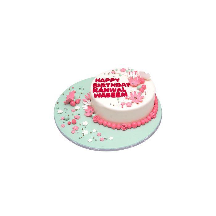Pink & White Floral Cake